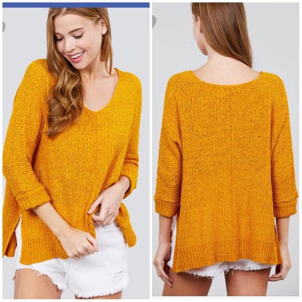 FINAL SALE Mustard 3/4th Sleeve Sweater