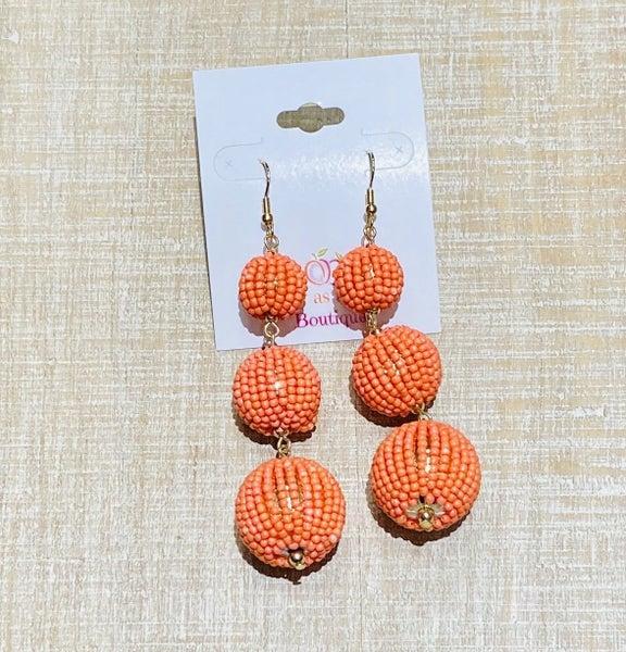 Orange Tiered Ball Earrings