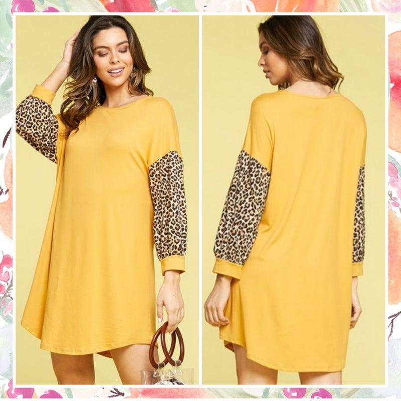 LAST CHANCE FINALSALE Mustard Animal Print Sleeve Dress