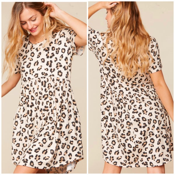 Taupe Animal Print Babydoll Pocket Dress