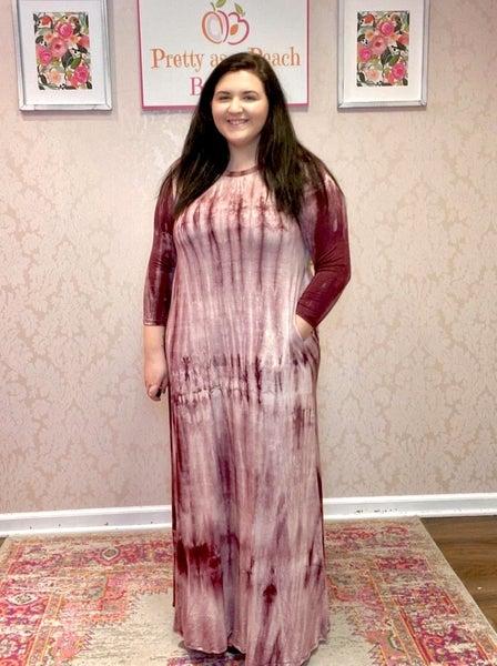 Wine Tie Dye Pocket Maxi Dress