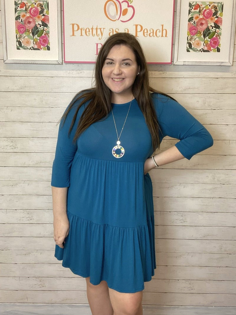 Teal Tiered Dress