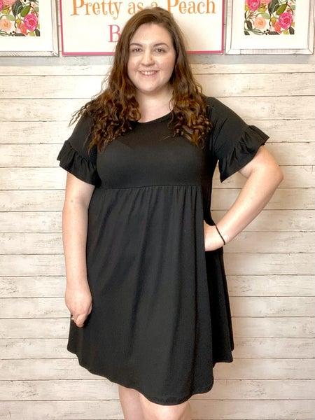 Black Ruffle Sleeve Pocket Dress