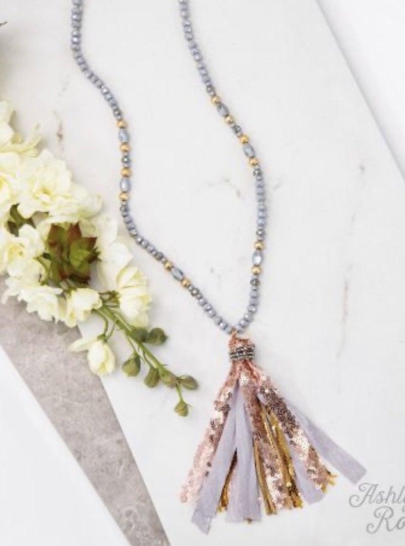Gray Beaded Tassel Necklace
