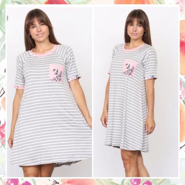 Gray Striped Blush Floral Pocket Dress