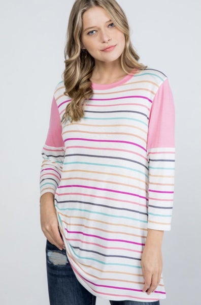 Ivory Multi Striped Top