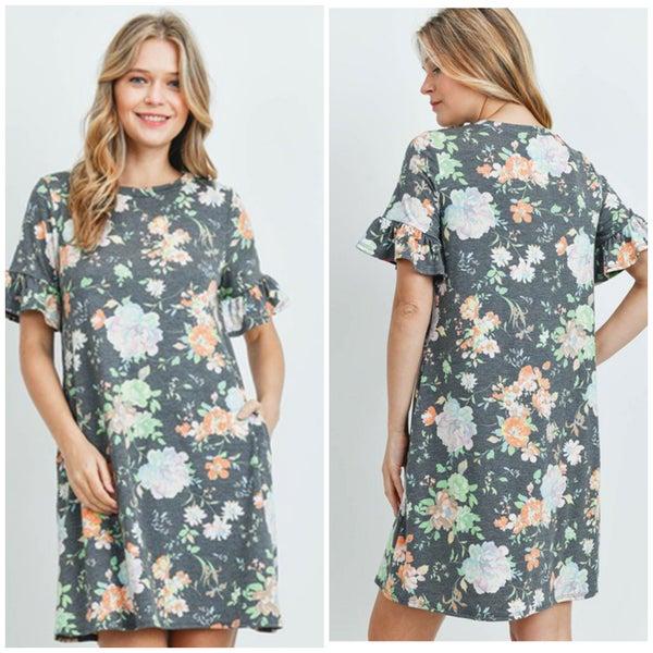 Charcoal Heathered Floral Pocket Dress
