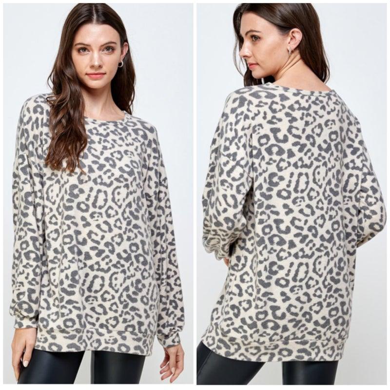 Oatmeal Leopard Print Top