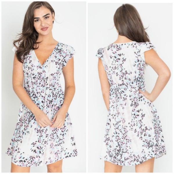 Ivory Leopard Print Dress