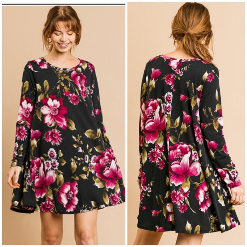 Umgee Black Floral Dress
