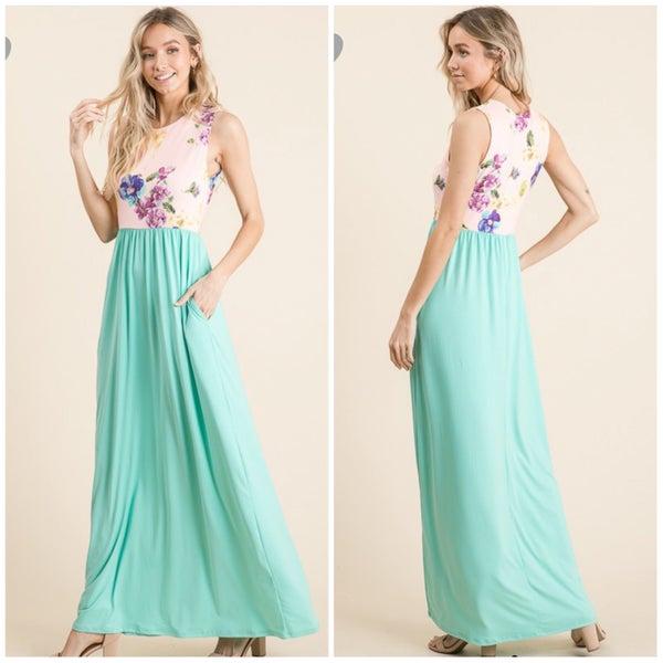 Blush & Mint Floral Tank Pocket Maxi Dress