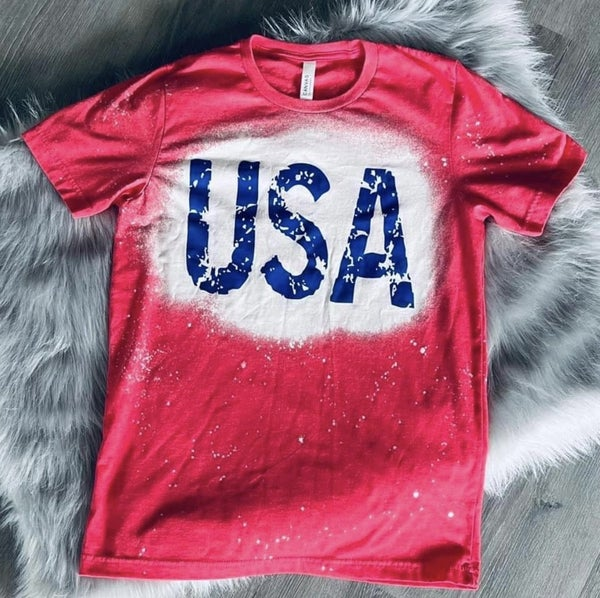 Red Bleached USA Tee