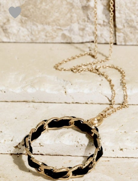Black Leather & Gold Circle Necklace
