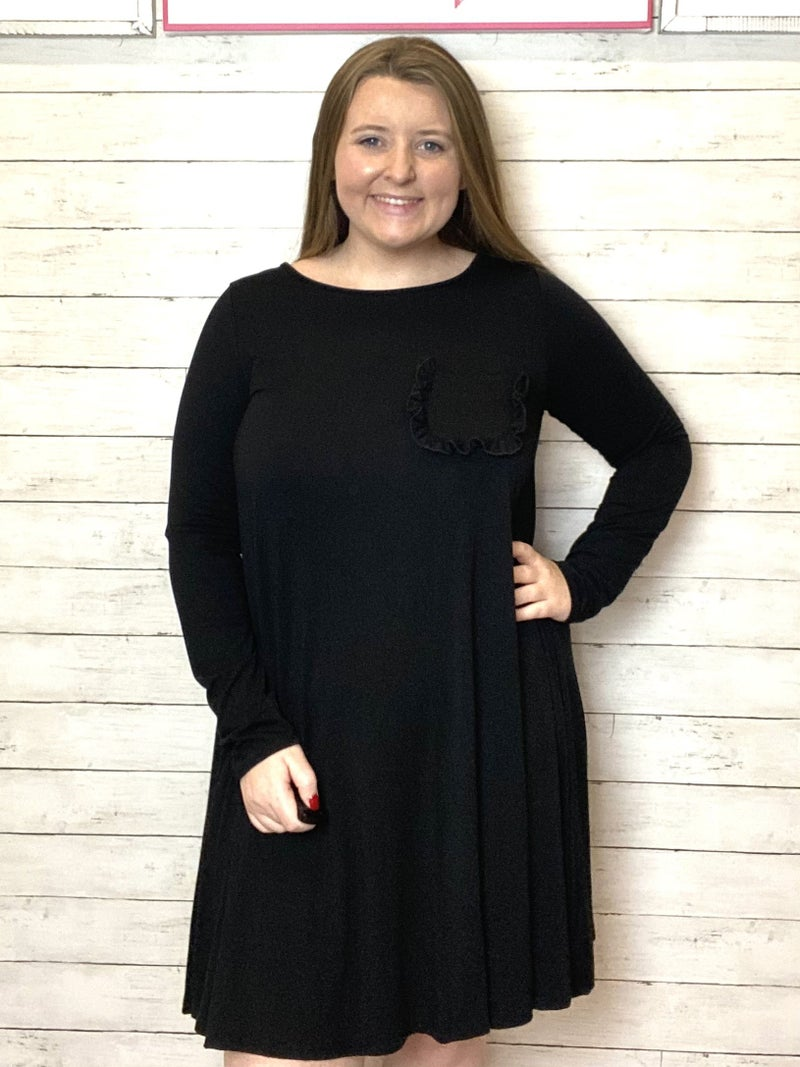 Black Ruffle Front Pocket Dress