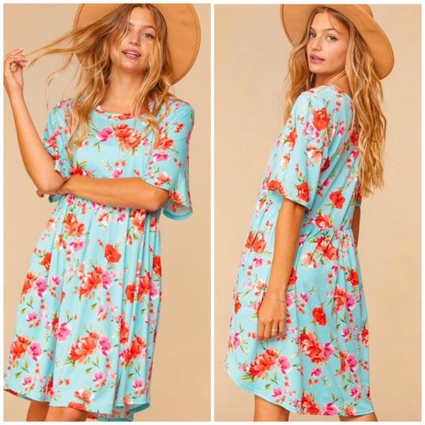 Mint Floral Flutter Sleeve Pocket Dress