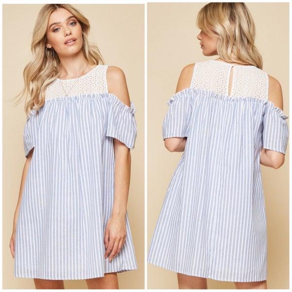 FINALSALE Blue Striped White Crochet Off The Shoulder Dress LIVE