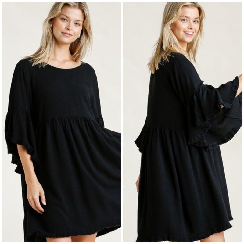 Umgee Black Frayed Dress