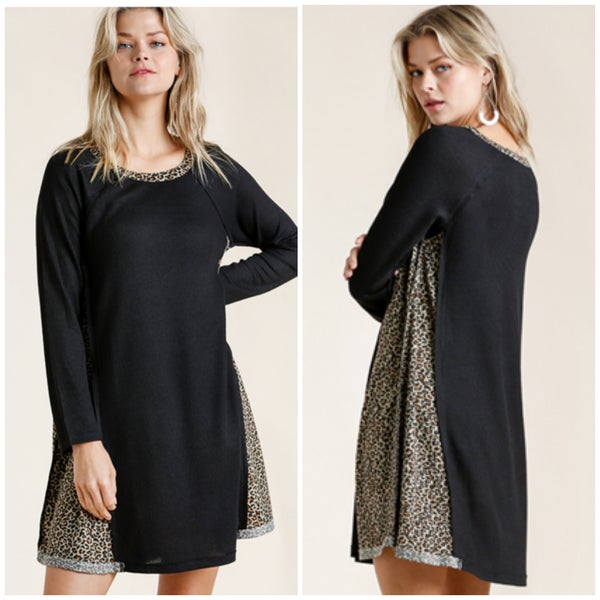 Umgee Black Animal Print Waffle Dress