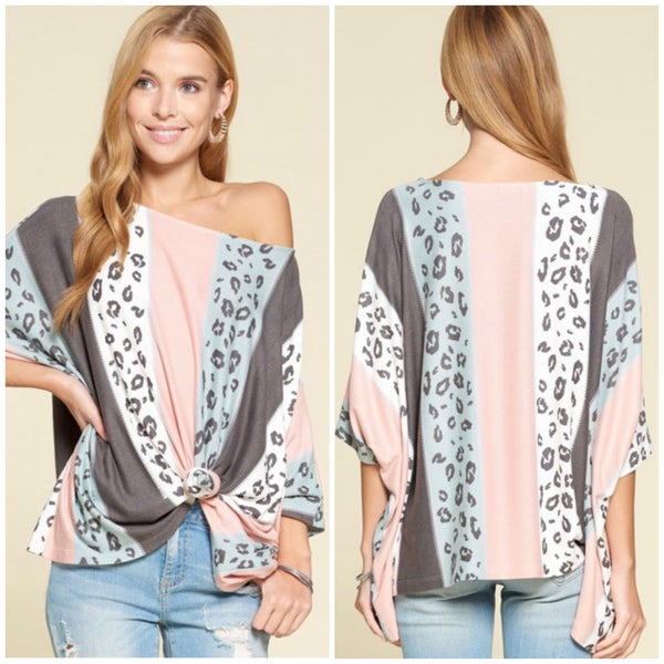 Mint Multi Leopard Striped Top