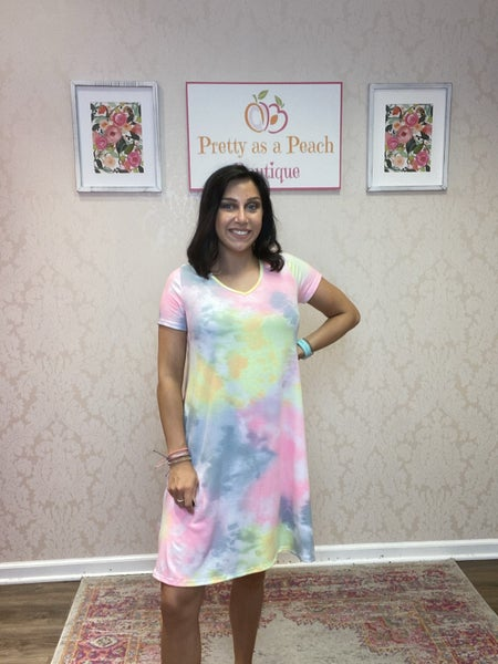 Pink Multi Tie Dye V Neck Dress