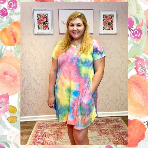 FINAL SALE Pink Multi Tie Dye Dress