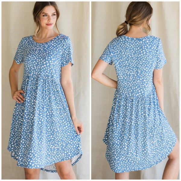 Blue Dalmatian Print Babydoll Dress