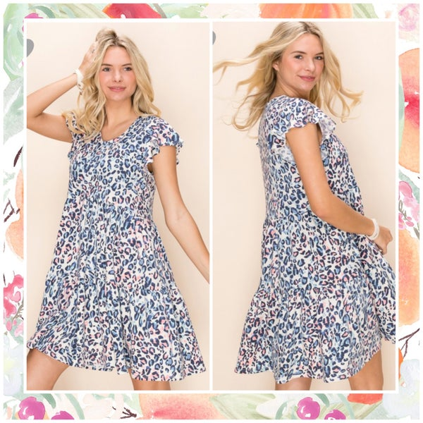 FINALSALE Multi Animal Print Tiered Tunic Dress
