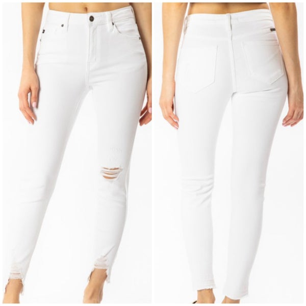 KanCan White High Rise Distressed Ankle Skinnies