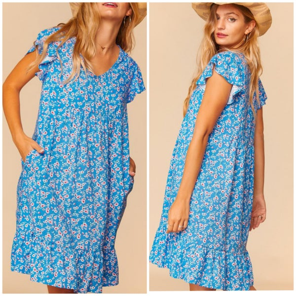 Blue Floral Pocket Dress