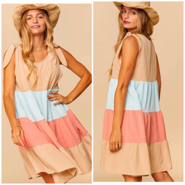 Taupe, Blue, & Peach Tiered Dress