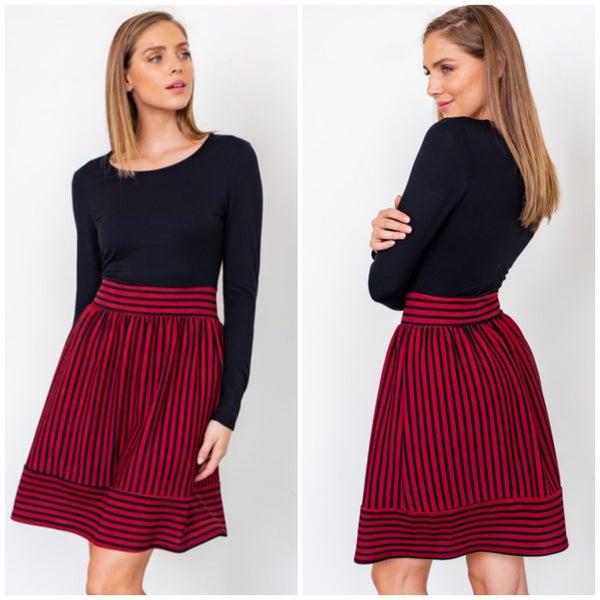 LAST CHANCE Black & Wine Striped Dress FINAL SALE