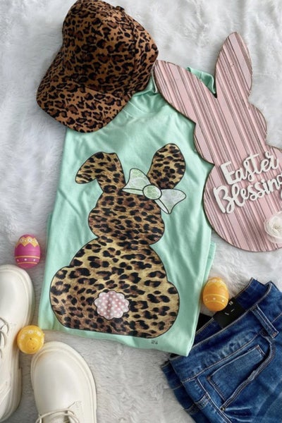 Mint Animal Print Bunny Tee HOLIDAY FINAL SALE