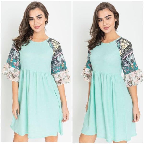 Mint Multi Print Ruffle Sleeve Dress