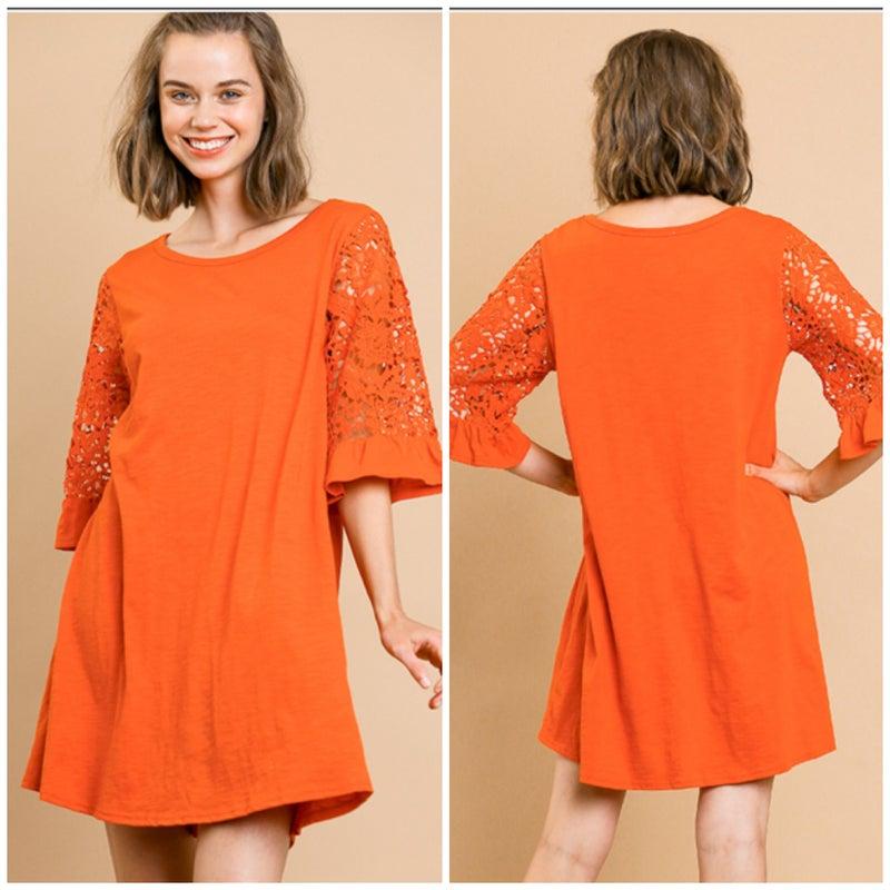 Umgee Orange Lace Ruffle Sleeve Dress