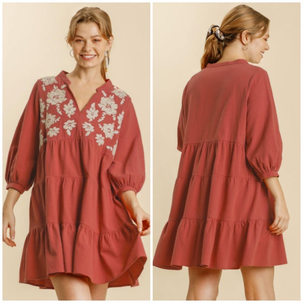 Umgee Rust Floral Embroidered Tunic Dress