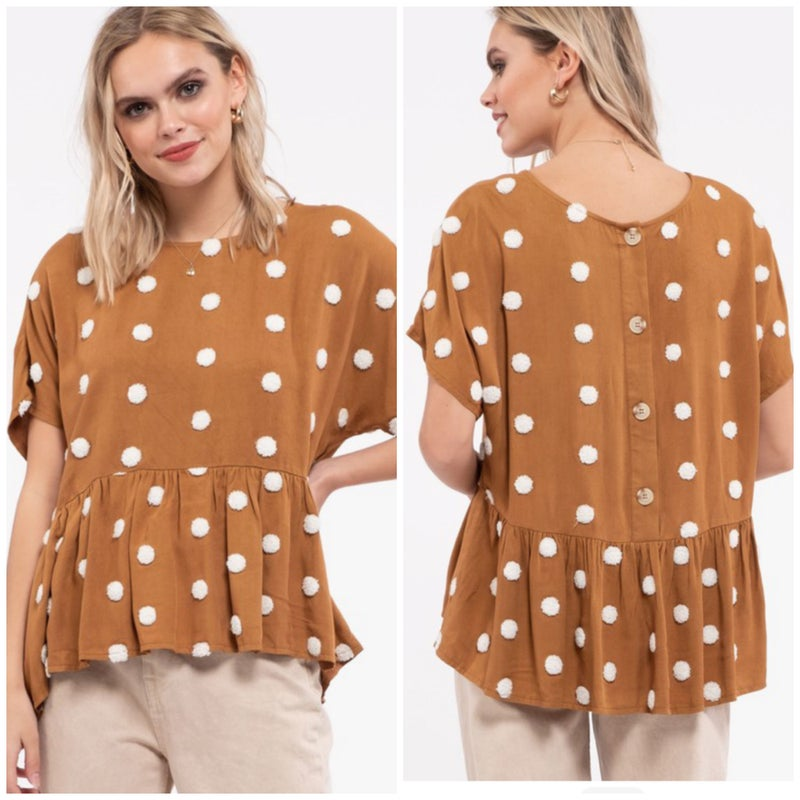 Camel Polka Dot Peplum Button Top