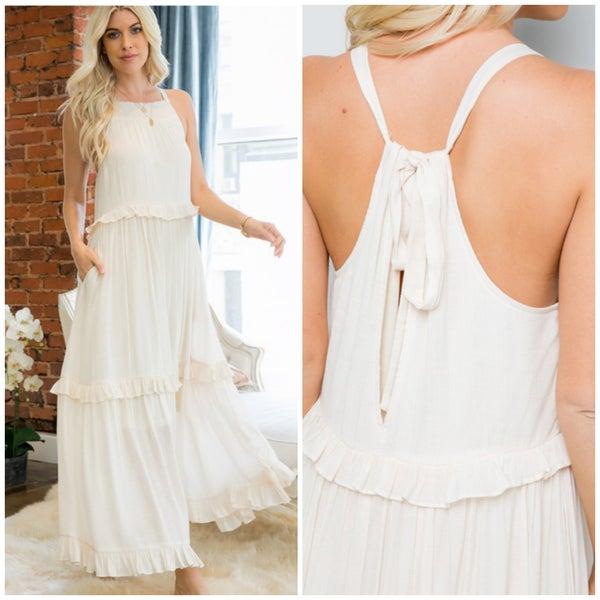 Ivory Ruffle Pocket Maxi Dress
