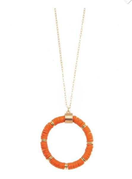 Orange Disc Beaded Necklace