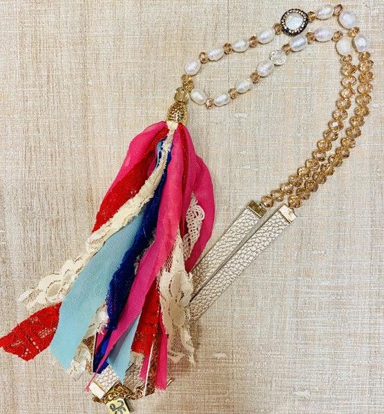 Pink & Mint Tassel Necklace