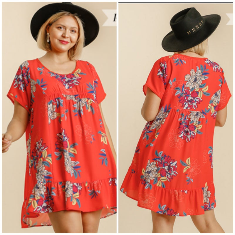 Umgee Red Floral Print Dress