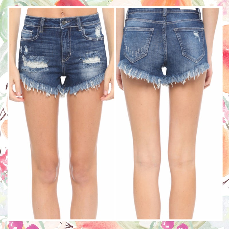 Cello High Rise Distressed Shorts ASHE