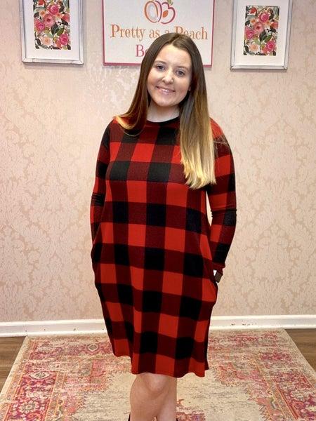 FINAL SALE Black & Red Buffalo Plaid Pocket Dress