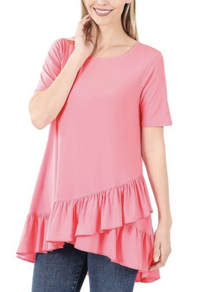 Deal of the Day Asymmetric Ruffle Tunic