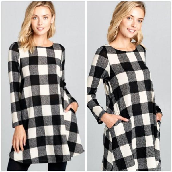 FINAL SALE Black & White Plaid Tunic Dress
