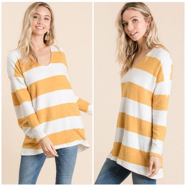 Mustard & Ivory Striped Tunic