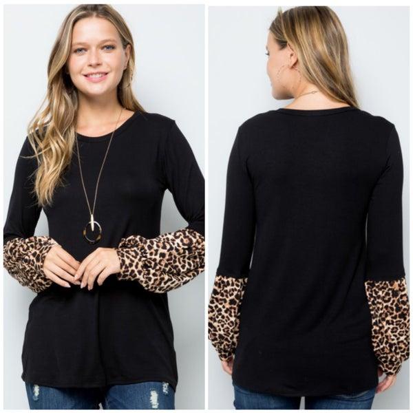 Black Animal Print Sleeve Top