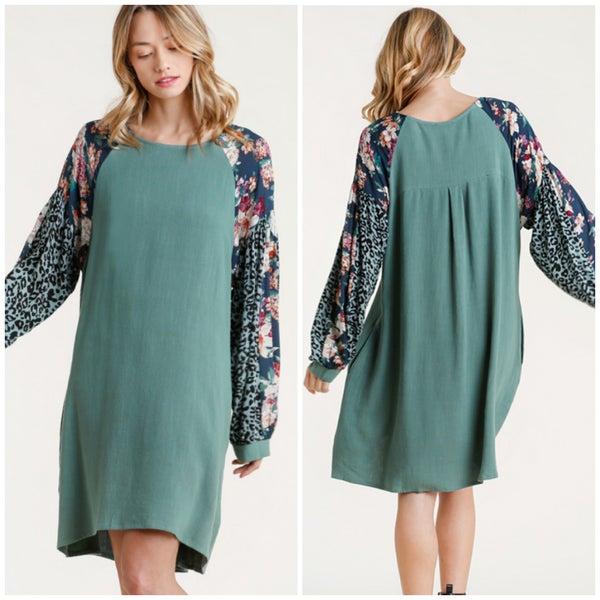 Umgee Teal Animal Print & Floral Sleeve Dress