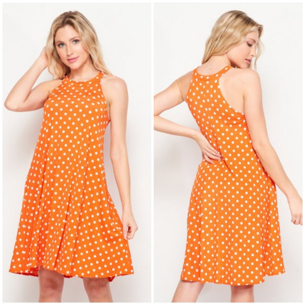 Orange Polka Dot Pocket Dress