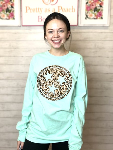 Aqua Animal Print Tristar Long Sleeve Tee