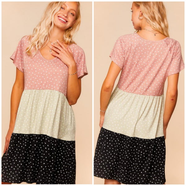 Blush & Sage Tiered Dot Dress